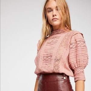 Free People Sydney Edwardian Lace Blouse - Blush S